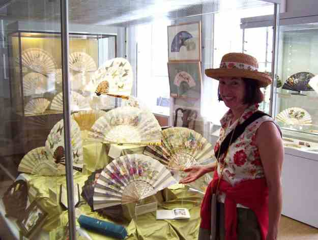 An image of fans on display at the Fan Museum at the Greenwich Village World Heritage Site, in England.