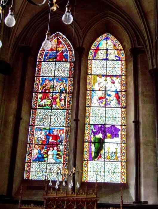 lancet windows in Salisbury Cathedral in England.