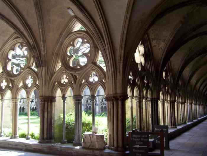 Image of the inside of the cloister of salisbury cathedral in salisbury, england