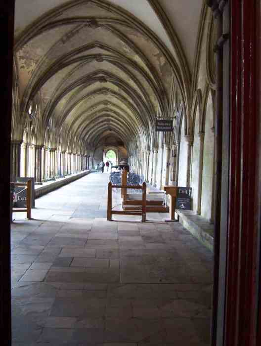 the cloisters of salisbury cathedral in salisbury, england