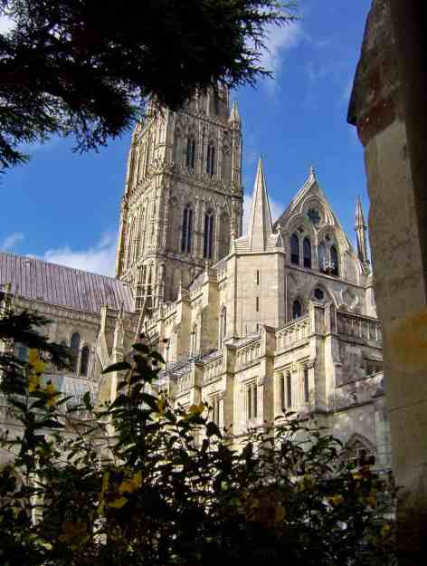 Image of Salisbury Cathedral in England.