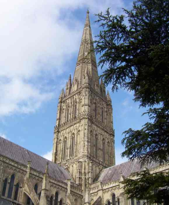 Image of the tower and spire of Salisbury Cathedral in England.
