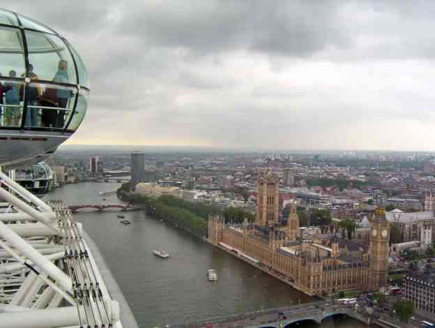 An image of the view of London, England from the Millennium Wheel or the London Eye.