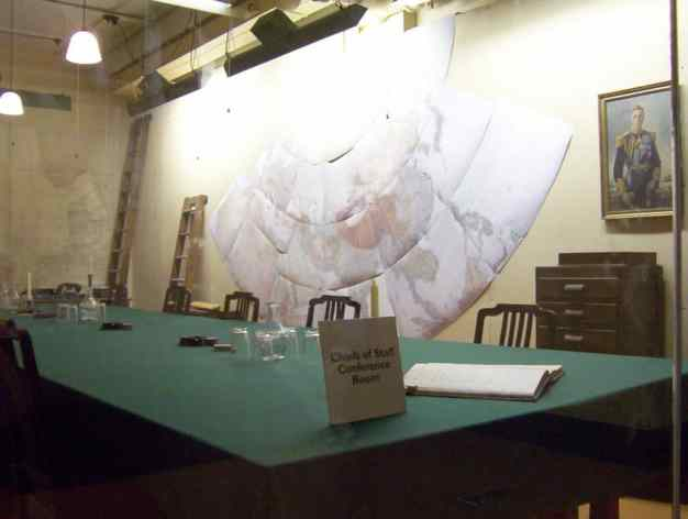 An image of the Chiefs of Staff Conference Room in the Cabinet War Rooms in London, England.