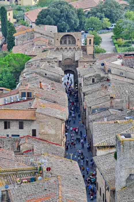 Image of the streets of San Gimignano from a top Torre Grossa in Italy.