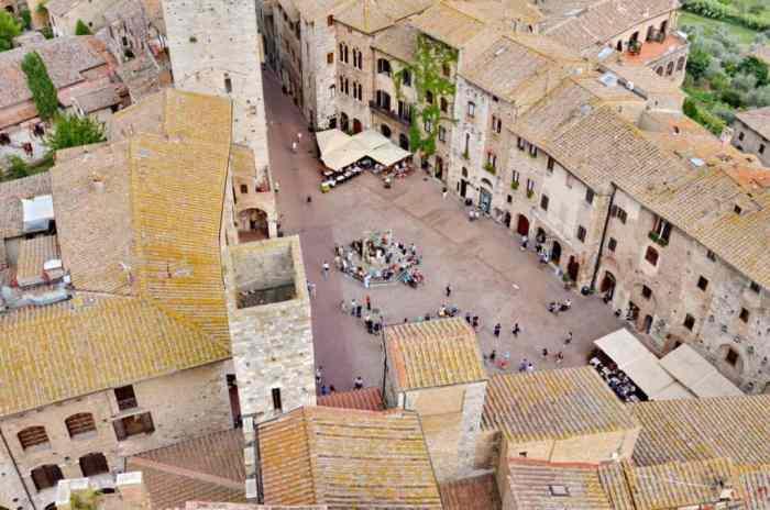 Image of Piazza della Cisterna which is San Gimignano's main town square, Italy