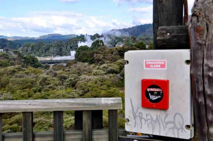 Image of evacuation alarm at Te Puia Geothermal Preserve, Rotorua, New Zealand