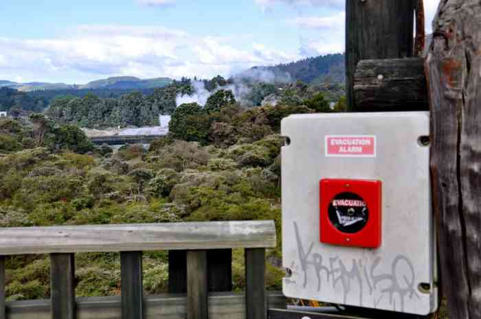 Image of evacuation alarm at Te Puia Geothermal Preserve, Rotorua, New Zealand