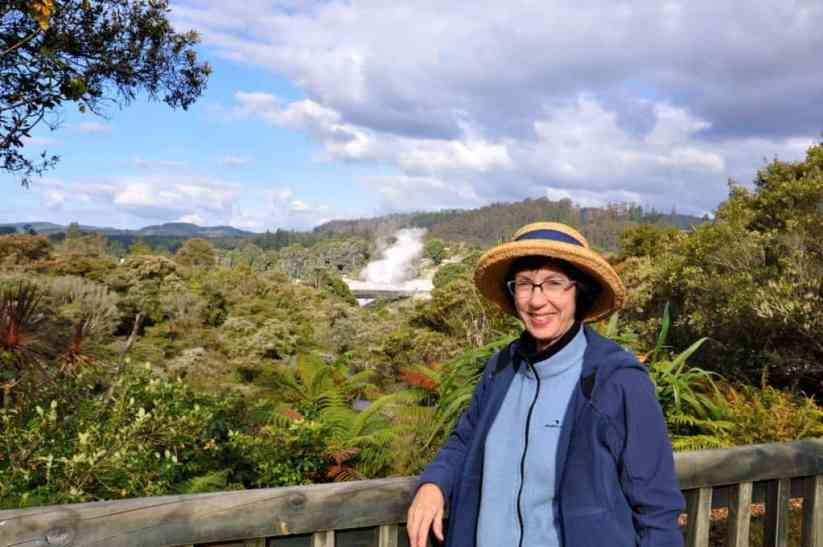 Image of Jean at Te Puia Geothermal Preserve, Rotorua, New Zealand