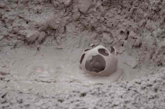Image of a mud bubble in a mud pot at Te Puia Geothermal Preserve, Rotorua, New Zealand