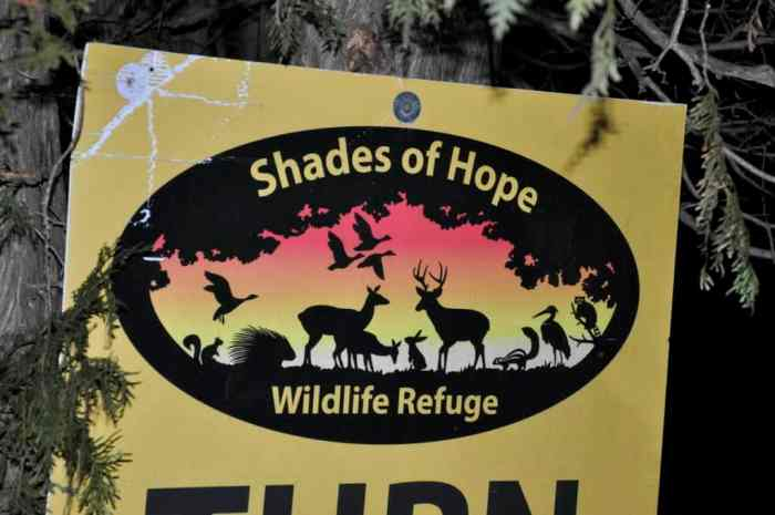 a Shades of Hope Wildlife Refuge sign in Pefferlaw, Ontario