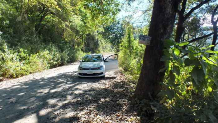 Car parked in Cerro de San Juan Ecological Reserve, Mexico.