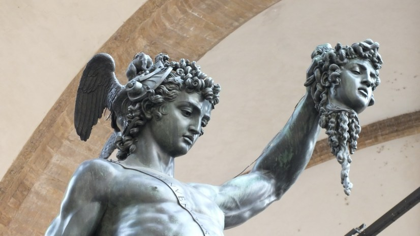 the sculpture perseus with the head of medusa, florence, italy