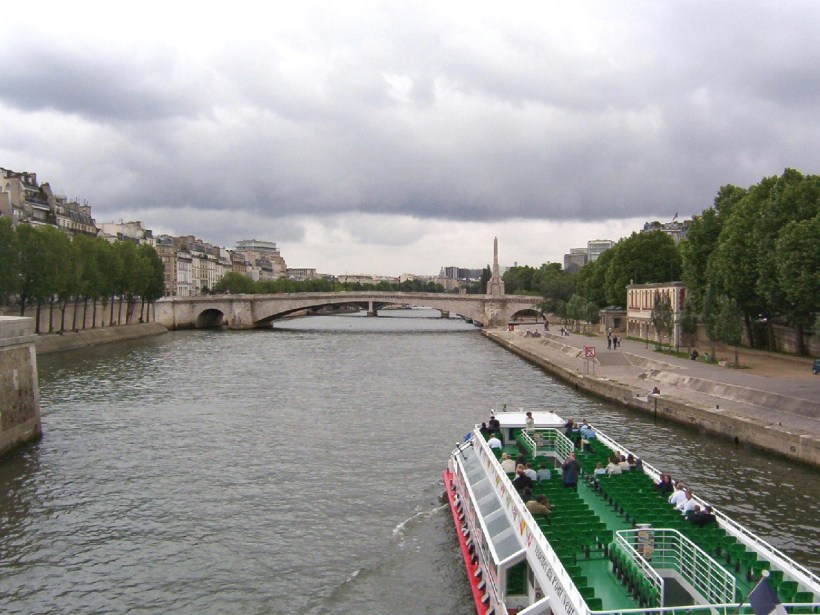 river boat on the seine river, paris, france