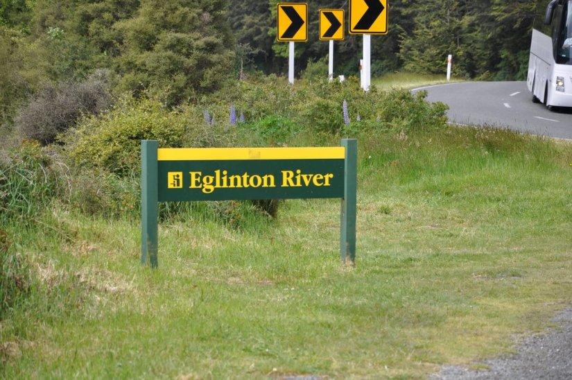 sign for eglinton river, fiordland national park, new zealand