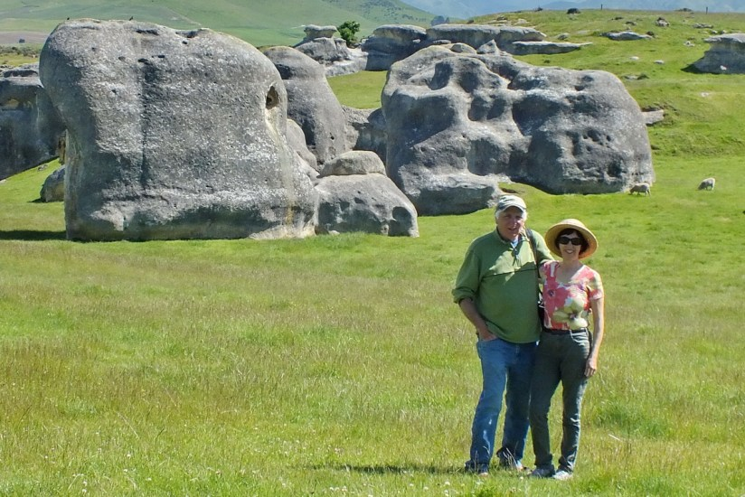 jean and bob at elephant rocks, south island, new zealand