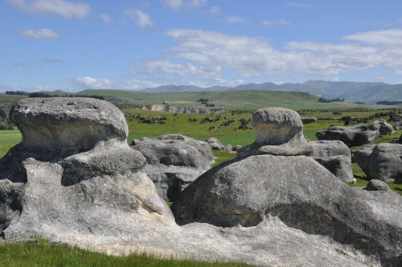 landscape featuring elephant rocks, duntroon, south island, new zealand