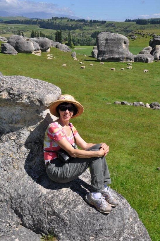 jean on an elephant rock, duntroon, new zealand
