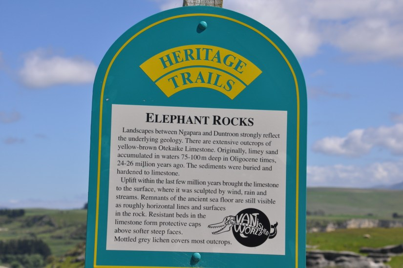 the sign at elephant rocks, duntroon, new zealand
