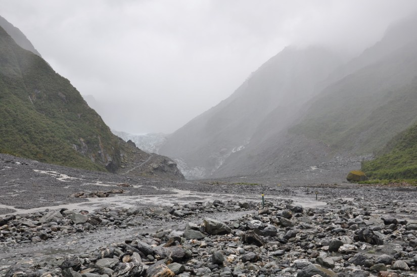 hiking trail to fox glacier, south island, new zealand