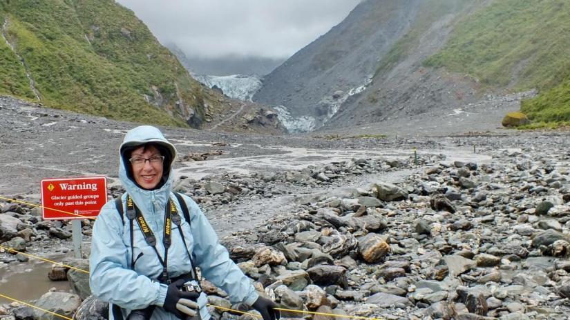 jean at fox glacier, south island, new zealand