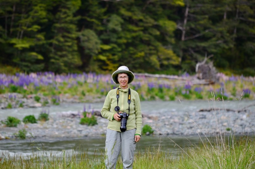 jean beside the eglinton river, eglinton river valley, fiordland national park, new zealand