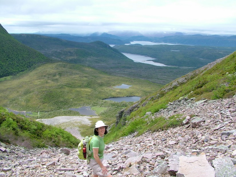 view of bonne bay and the ponds from the gully, gros morne mountain trail, newfoundland, canada