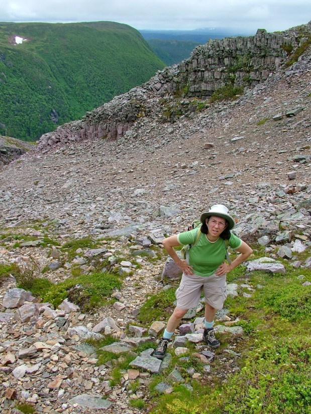 jean in the gully, gros morne mountain trail, newfoundland, canada