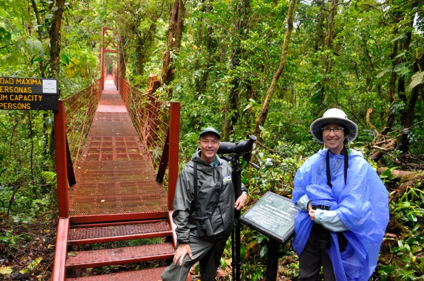 jean and ricardo guindon at the hanging bridge, monteverde cloud forest preserve, costa rica