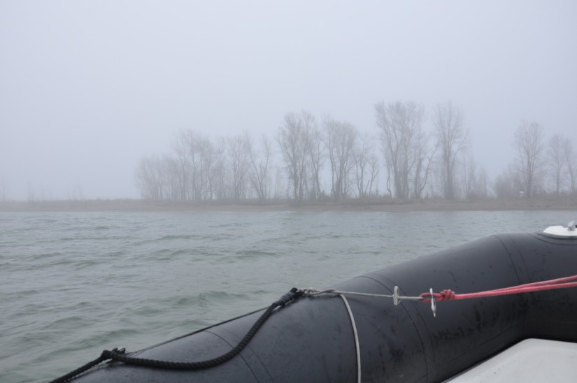 the foggy tip of long point, lake erie, ontario