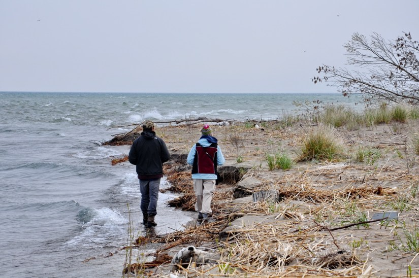 jean and garrett walk to the tip, long point, lake erie, ontario