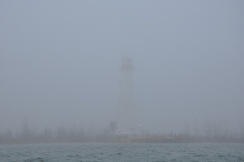 lighthouse in fog, tip of long point, lake erie, ontario