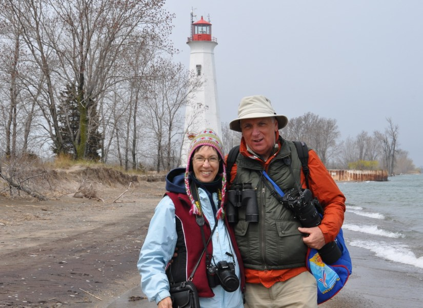 bob and jean at the tip of long point, lake erie, ontario