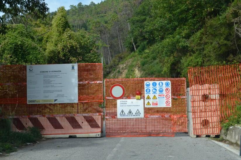 roadblock, cinque terre, italy