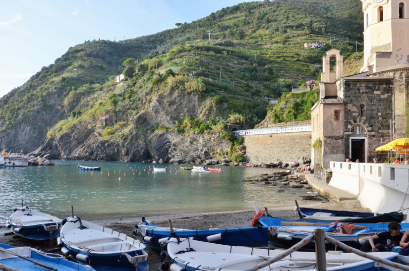 dinghies in the harbour, vernazza, cinque terre, italy