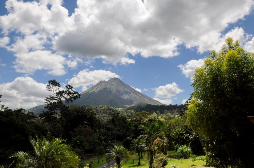 a view of arenal volcano from kokoro lodge, la fortuna, costa rica