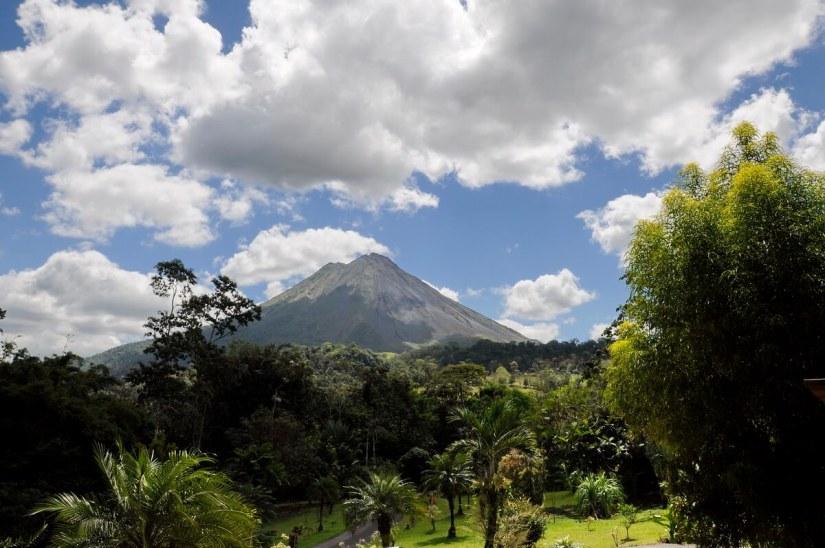 a view of arenal volcano from kokoro lodge, la fortuna, costa rica