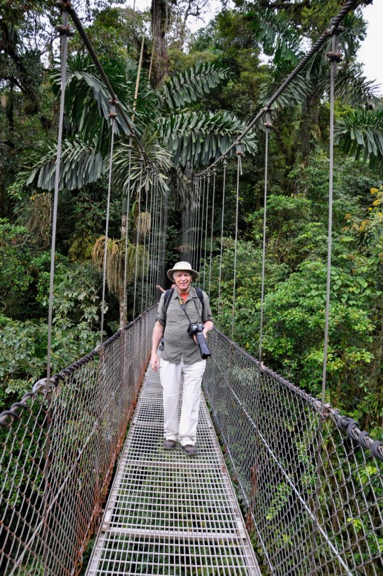 bob on a hanging bridge, mistico arenal hanging bridges park, la fortuna, costa rica