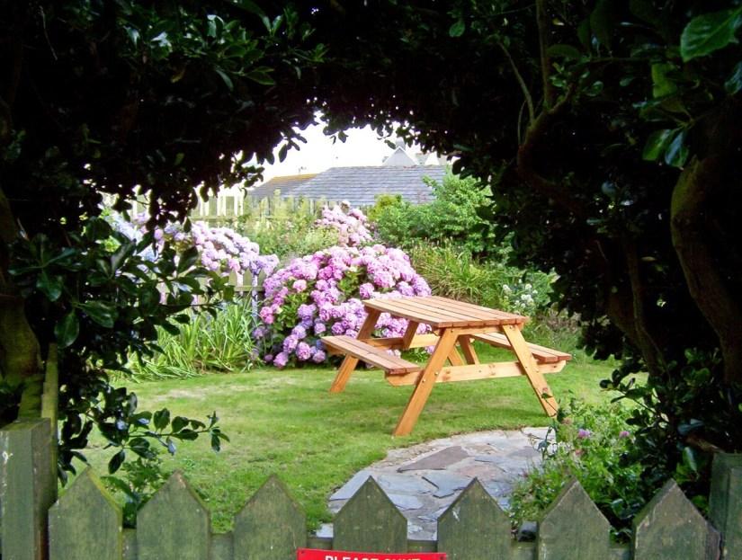 a cottage garden, tintagel, england