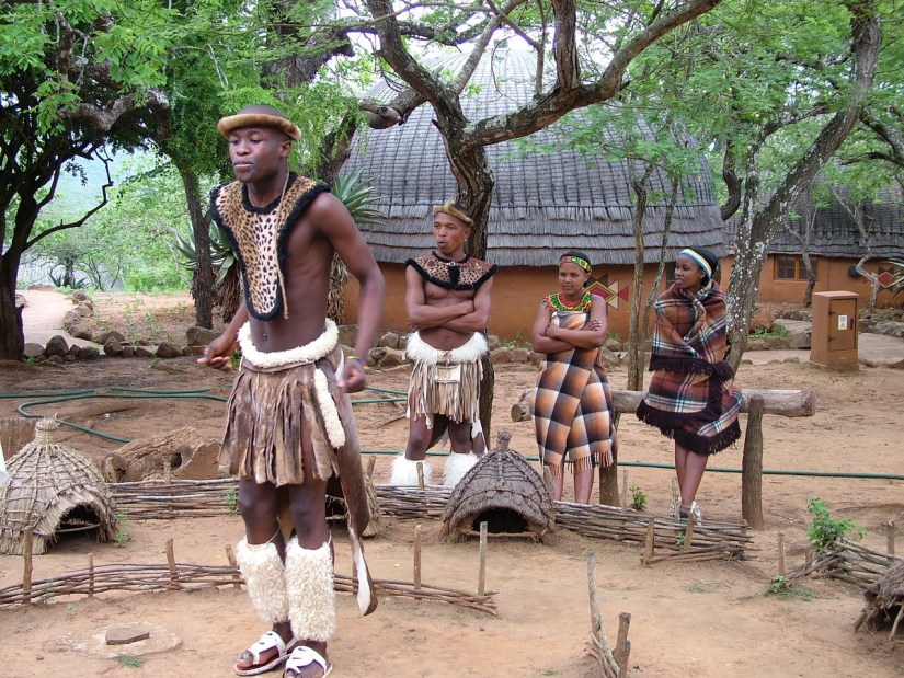 young zulu tribe members, shakaland, kwazulu-natal, south africa