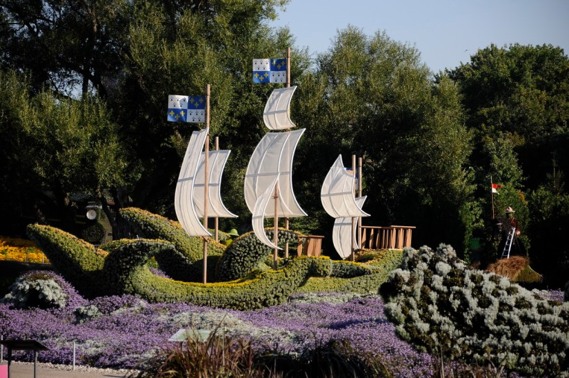 three ships from france, mosaiculture 2018, gatineau, quebec, canada