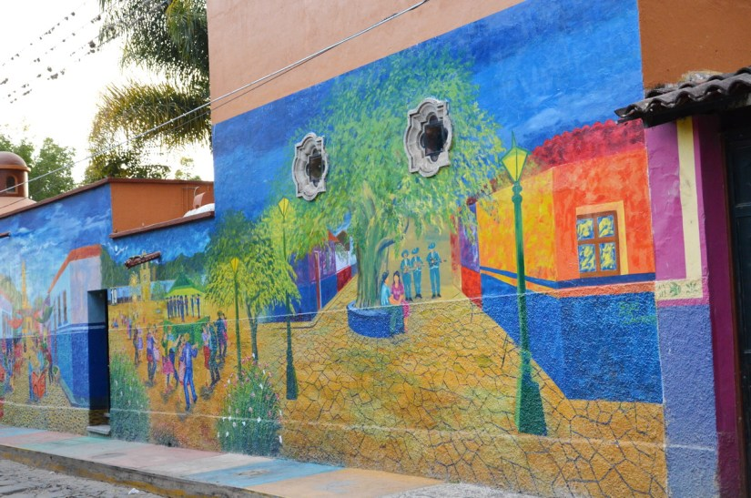 street mural along the malecon, ajijic, lake chapala, mexico