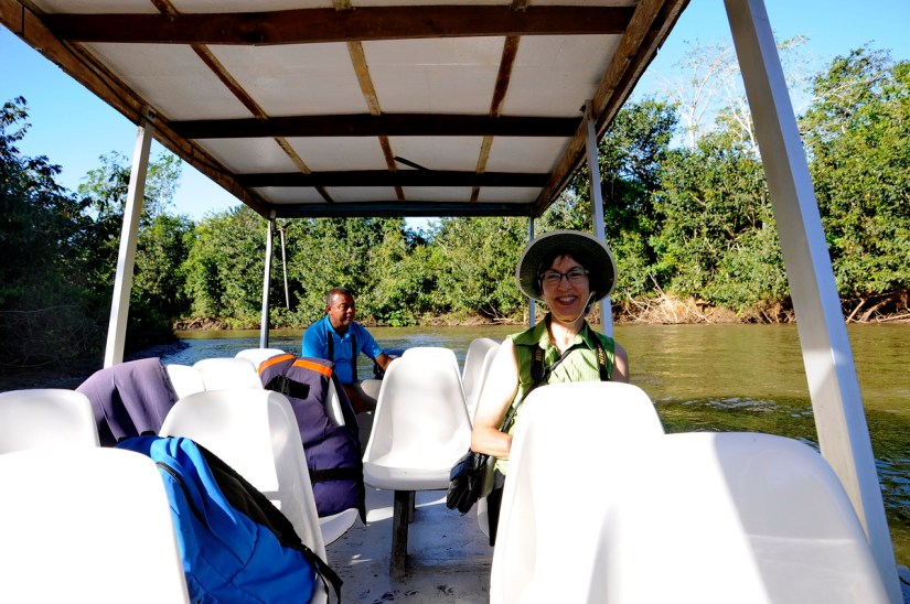 jean on riverboat, river frio, cano negro wildlife refuge, costa rica