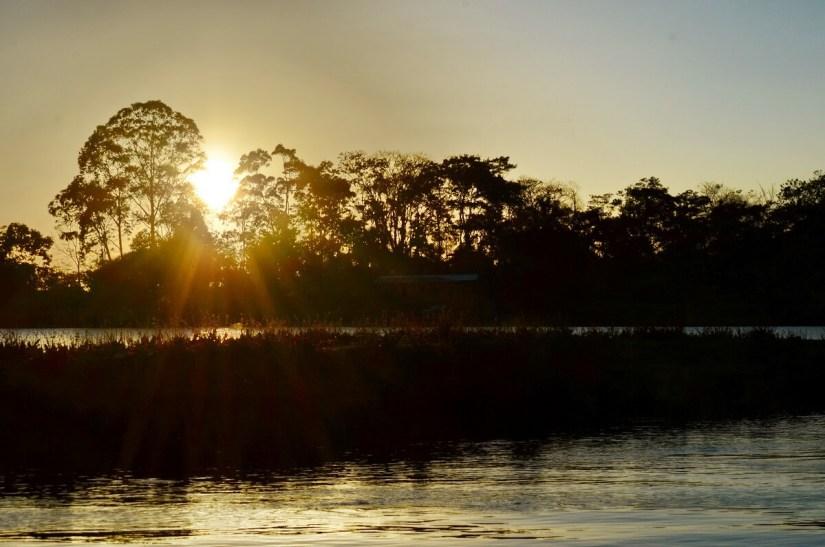 sunset on cano negro lake, cano negro wildlife refuge, costa rica