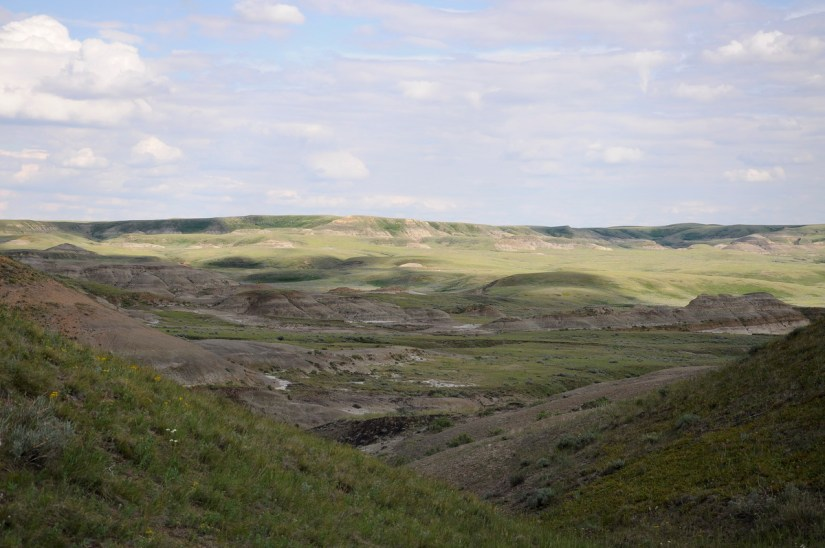 a coulee, valley of 1000 devils route, grasslands national park east block, saskatchewan
