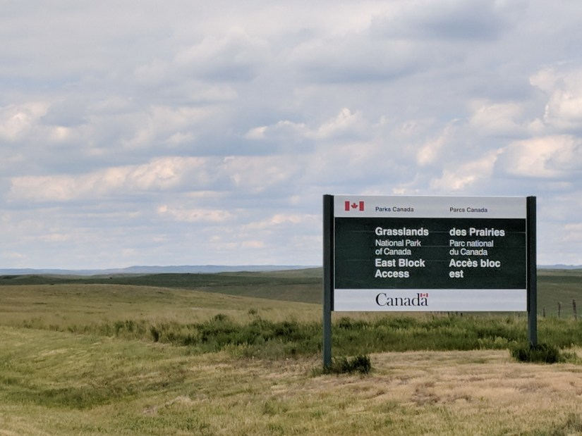 grasslands national park east block sign, saskatchewan