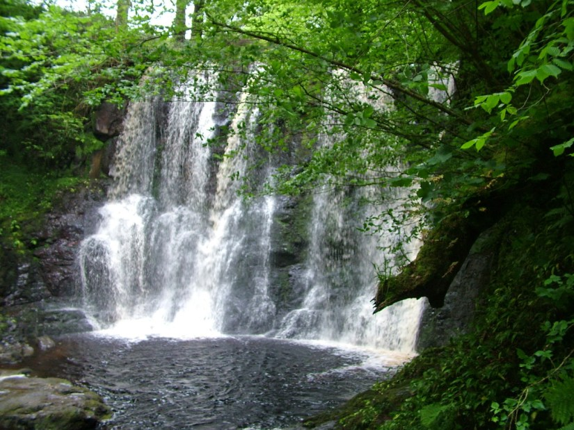 the fall of the hooves waterfalls, ess-na-crub, glenariff forest park, northern ireland