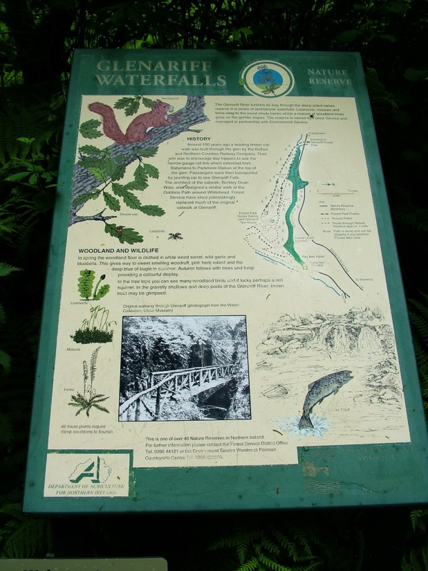 glenariff waterfalls sign, glenariff forest park, northern ireland