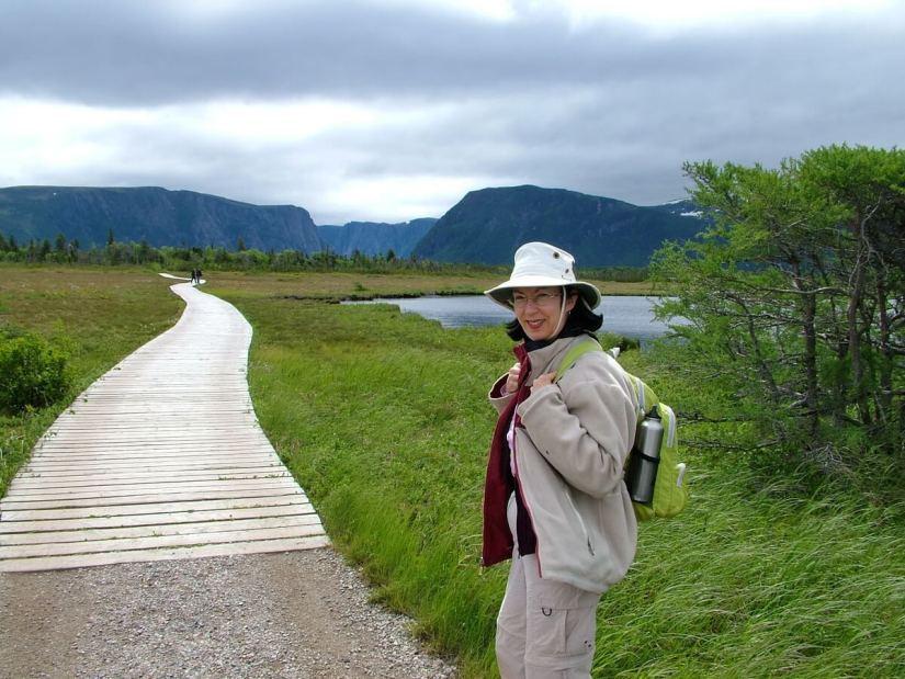 jean hiking to western brook pond, gros morne national park, newfoundland, canada