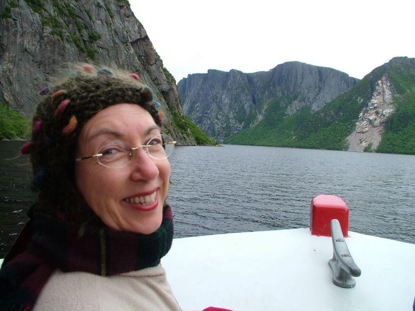 jean on tour boat, western brook pond, gros morne national park, newfoundland, canada